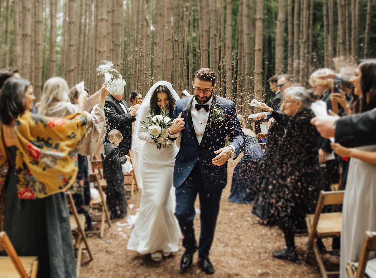 Natural wedding ceremony in the forest