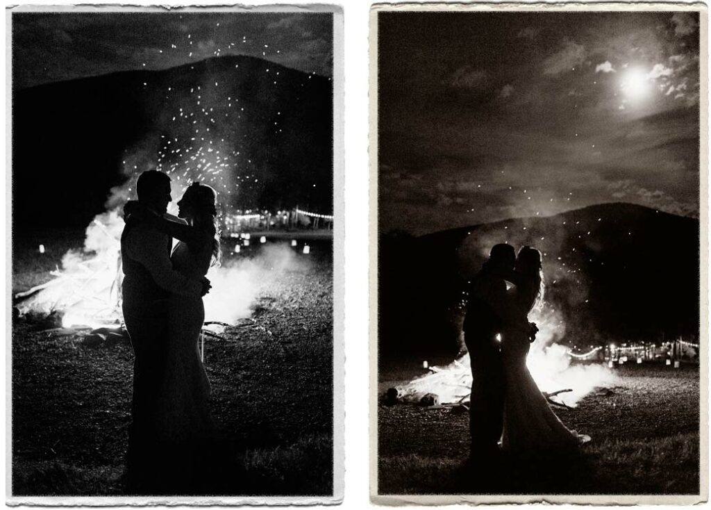 Bride and groom at a Catskills bonfire under the stars