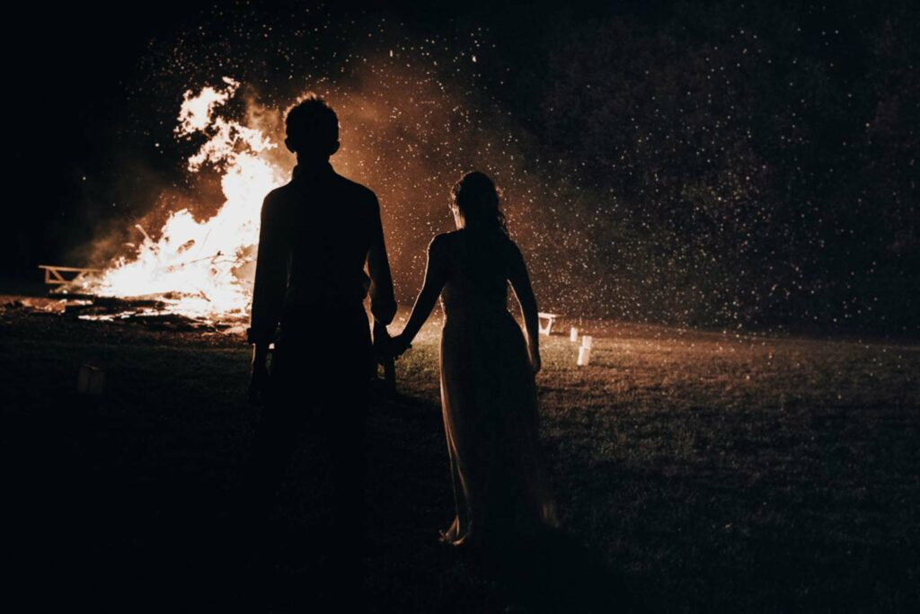 Large bonfire finale at Roxbury BArn and Estate in Upstate New York
