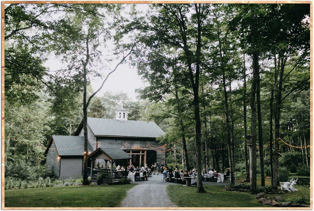 Outdoor dinner at the barn in the Catskill Mountains