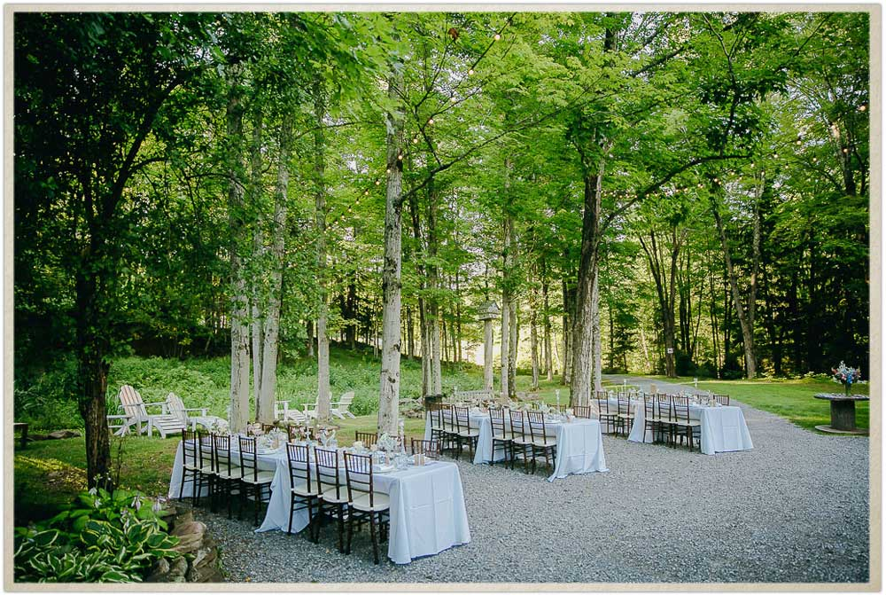 Outdoor dinner setup on the courtyard at Roxbury Barn and Estate in Upstate New York