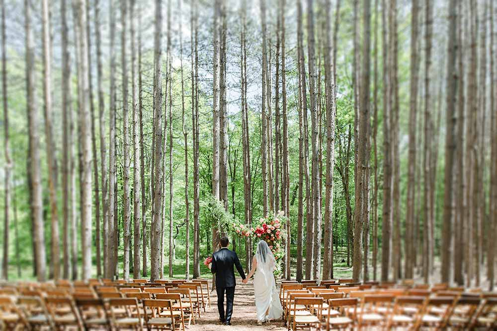 Romantic forest wedding ona 42-acre estate in the Catskill Mountains