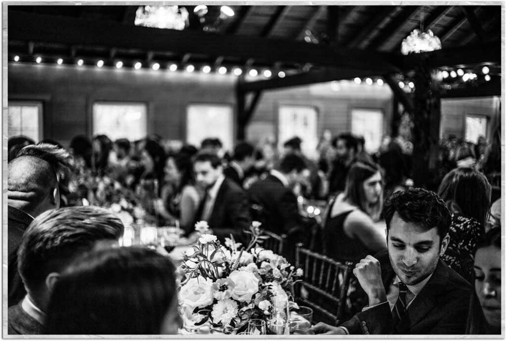 Wedding reception on the upper level of the carriage barn, catererd by Ate O Ate Catering