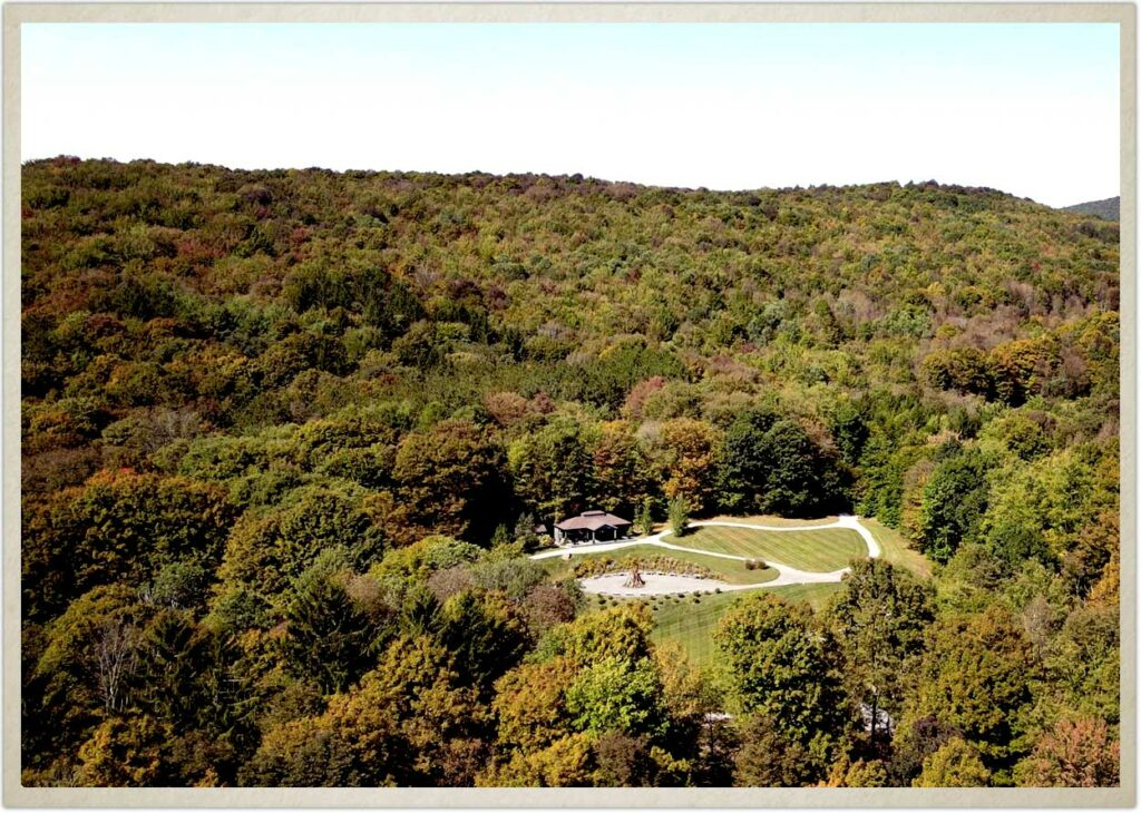 Aerial view of Spring Hill at Roxbury Barn and Estate