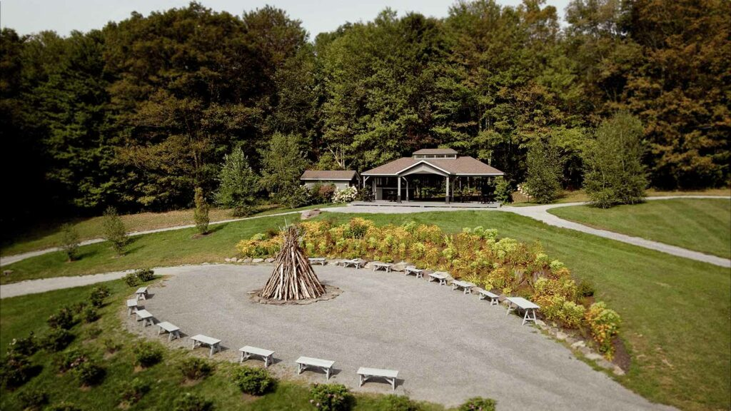 Bonfire and cocktail hour pavilion on Spring Hill