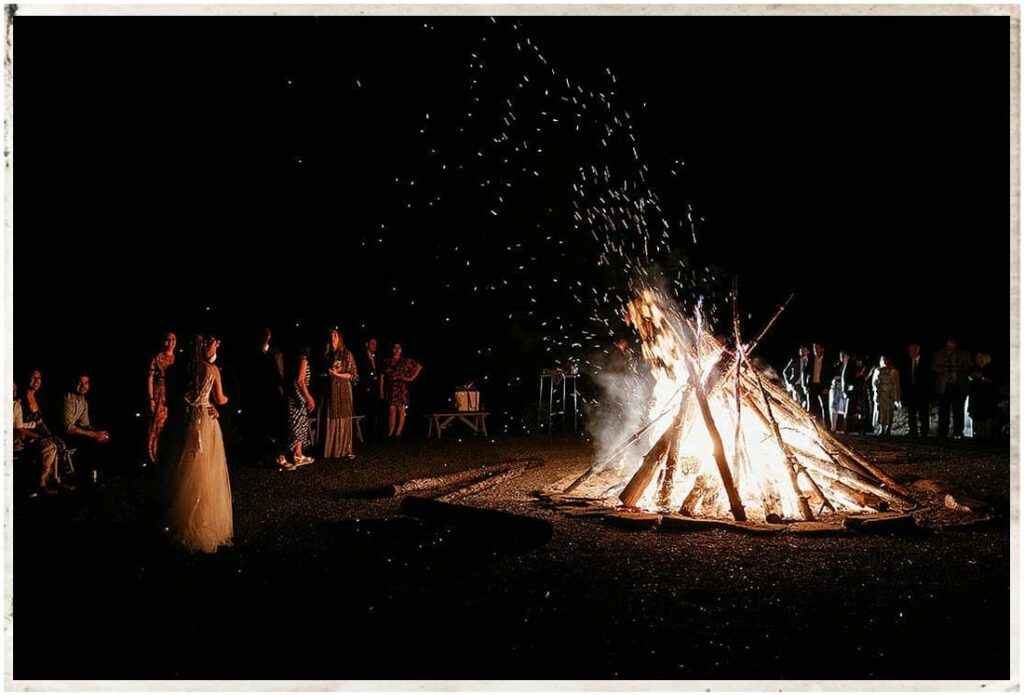 Bonfire finale at the wedding at Roxbury Barn and Estate in Upstate New Yrok