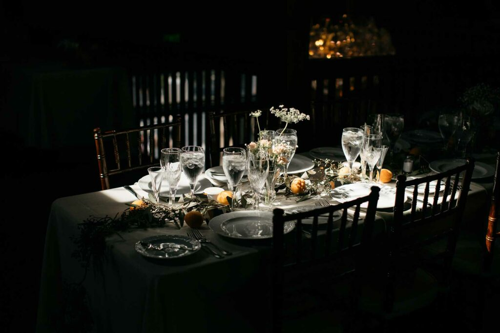 Dinner table setup on the upper level of the carriage barn