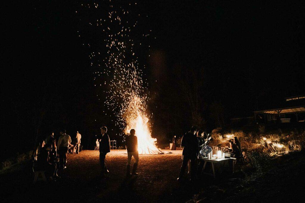 Large bonfire at an upstate wedding at Roxbury Barn and Estate