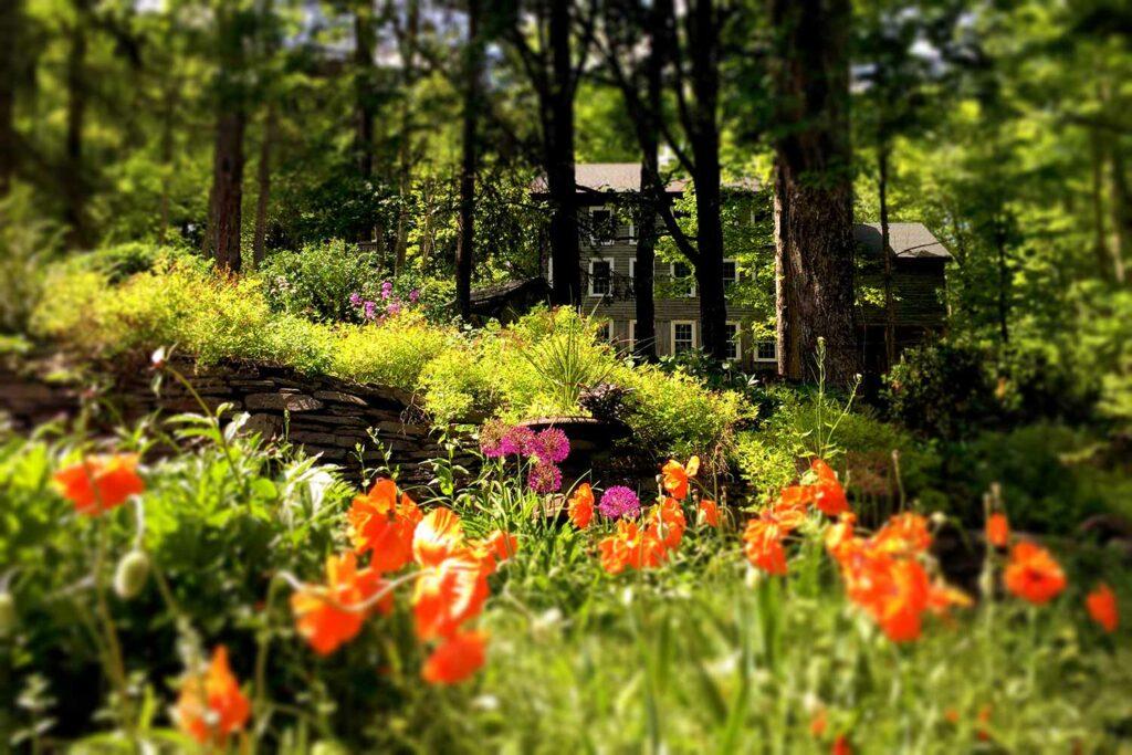 Secret flower garden behind the Catskills carriage barn