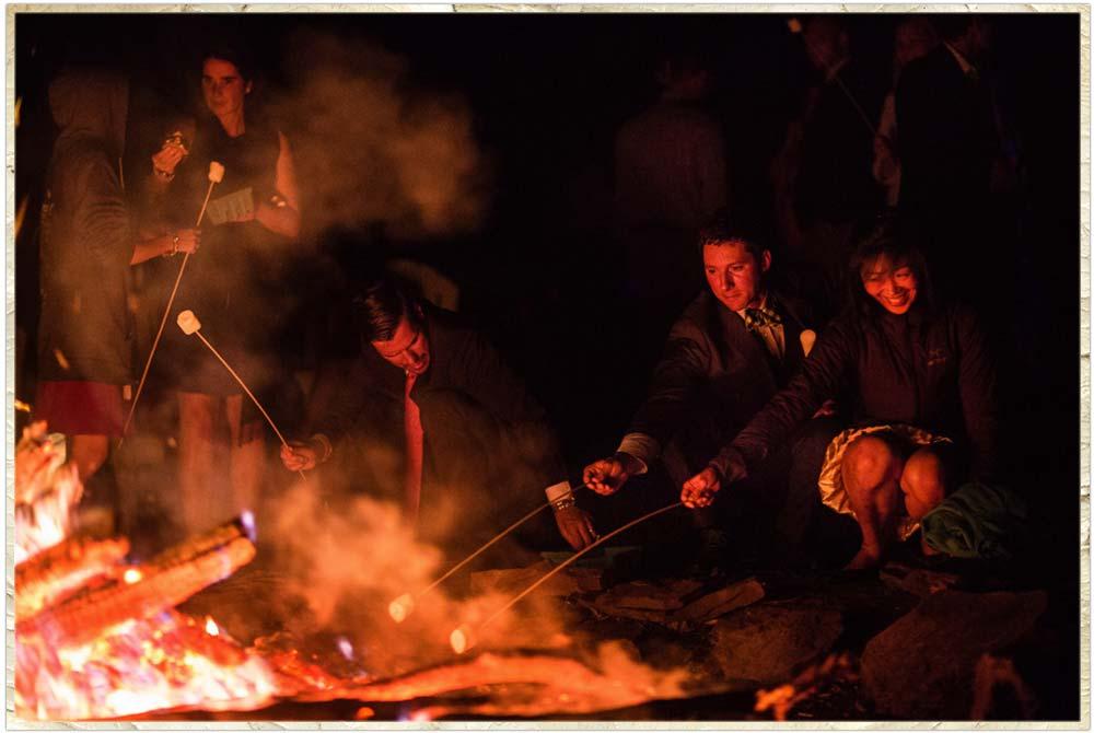 S'mores at the bonfire at a Catskills wedding