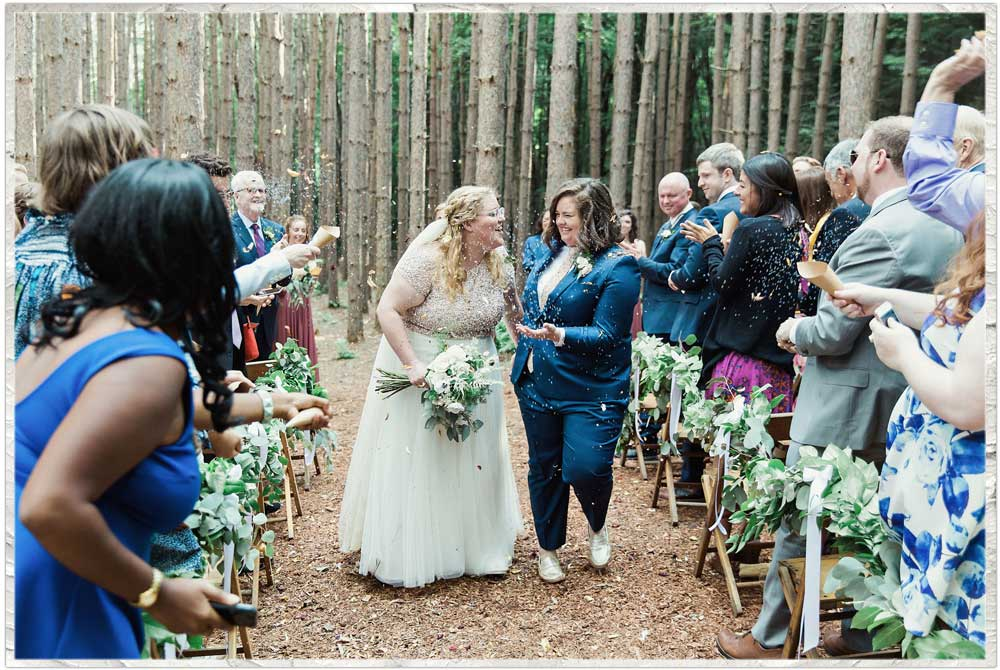 Two brides in the pine grove