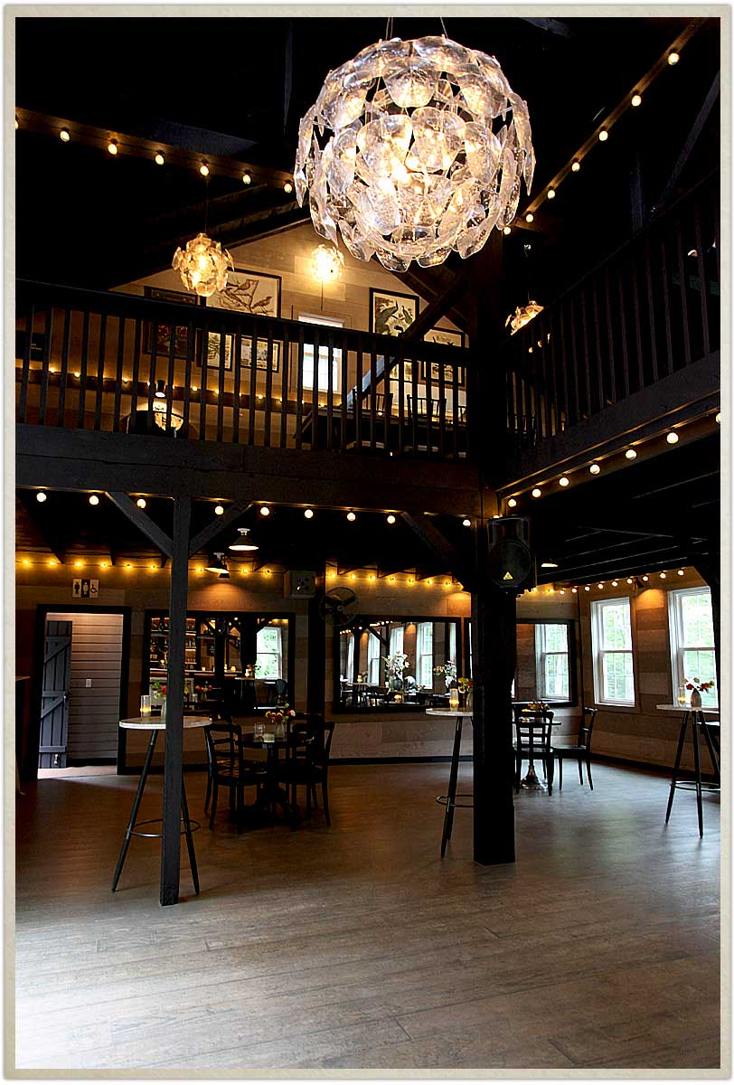 Two levels of the carriage barn at Roxbury Barn and Estate in the Catskill Mountains
