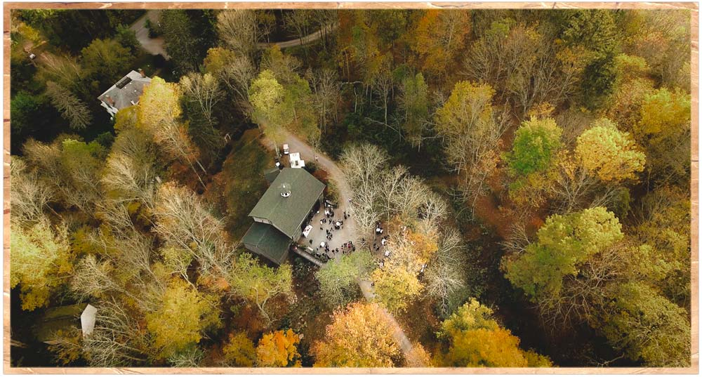 Aerial view of the Carriage Barn