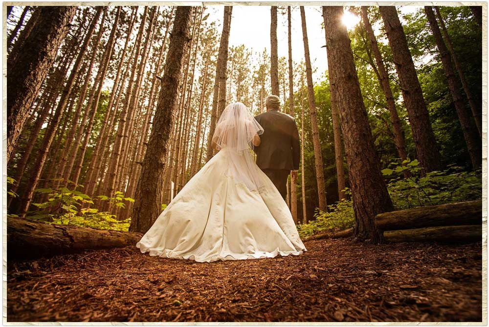 Here comes the bride into the forest
