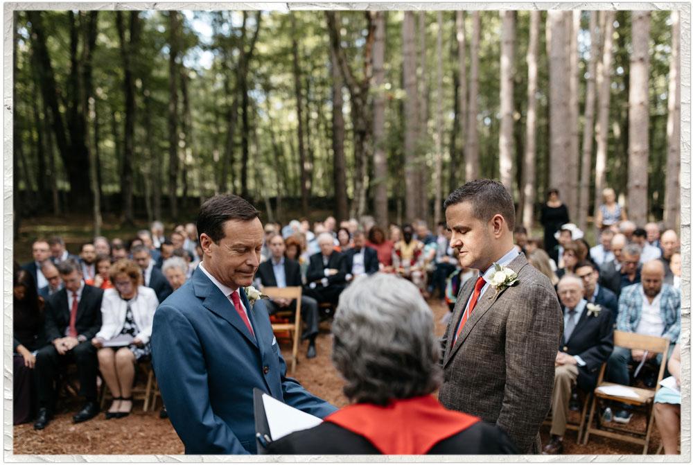 Same sex wedding ceremony at Roxbury Barn and Estate in the New York Catskills