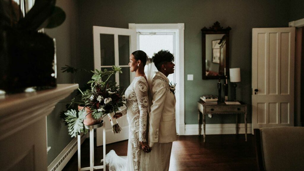 Firts feel of two brides at Roxbury BArn and Estate