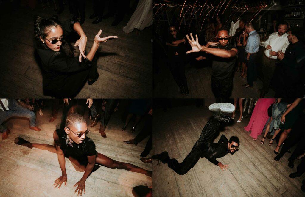 Vogue dancers strike a pose at danceparty at Roxbury Barn an Estate