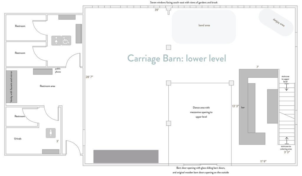 Floor plan: lower level of the carriage barn